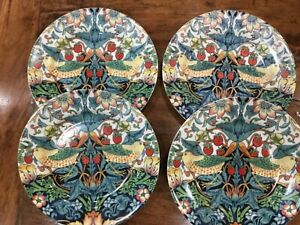 SPODE MORRIS & Co STRAWBERRY THEIF PLATES CAKE SANDWICH SET X 4 NEW UNUSED BIRDS