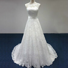 2018 NEW White Ivory Wedding Dress Bridal Gown Stock Size :6-18 L07-14