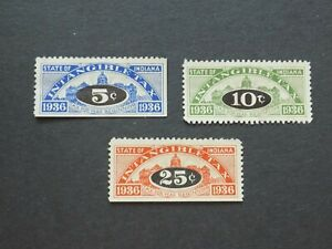 (3) Used 1936 State of Indiana revenue Tax stamps-5c, 10c and 25 cents