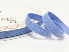 2 metres Sky Blue 10mm Cotton Herringbone Webbing Ribbon Craft Sewing Clothes