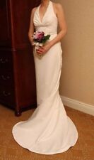 David's Bridal Wedding Dress Galina V8798 Ivory Beaded Long Halter ALine Size 14