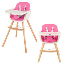 3 in 1 Convertible Wooden High Chair Baby Toddler Highchair w/ Cushion Pink