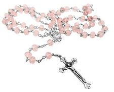 Pink Crystal Beads Rosary Catholic Necklace Jerusalem Holy Soil Medal & Crucifix