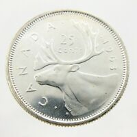 1963 Canada Twenty Five 25 Cents 800 Silver Quarter Uncirculated Coin A248