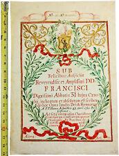 1704 Illustrated Manuscript - FRANCISCAN THIRD ORDER - Anti-Slavery Symbolism