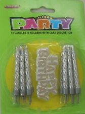 SILVER BIRTHDAY CANDLES PACK OF 12 AND PLASTIC HAPPY BIRTHDAY CAKE TOPPER