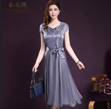 Women Vogue Collect waist Floral Print Slim fit Short Sleeve Dress Size M-4XL