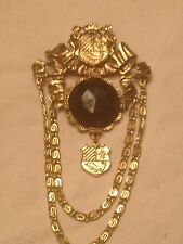 Womens Ladies Unique Golden Swag Pin Brooch gold/black Costume Dangle Jewelry