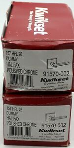 Lot of 2 Kwikset 91570-002 Halifax Slim Square Half-Dummy Lever Polished Chrome