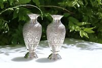 Antique  Persian Isfahan silver 84 pair of vase handmade engraved Qalam Zani