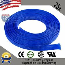 """25 FT 1/2"""" Blue Expandable Wire Cable Sleeving Sheathing Braided Loom Tubing US"""