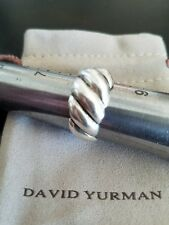 David Yurman Sterling Silver Wide Sculpted Hampton Cable Ring Sz 8 in EUC + Bag