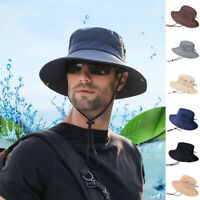 Men's Sun Hat Bucket Outdoor Fishing Boonie Cap Camo Wide Brim Breathable Hat US