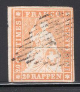 Switzerland 1854 Strubel 20r Pale Orange FVF Used #23 CV$200