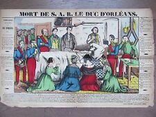 GRANDE IMAGE EPINAL 1880 MORT DE S.A.R LE DUC D'ORLEANS 15 JUILLET 1842