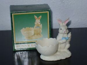Porcelain Bisque Easter Bunny Egg Cup ~ painting Easter Eggs w/orig box
