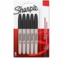 Sharpie Fine Point Bullet Permanent Marker Pens BLACK, 5 Pack