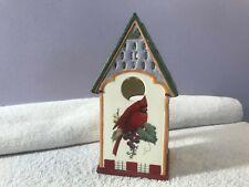 Lenox winter greetings cardinal bird house votive candle holder Ex4019