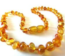 32-33 cm Genuine Baltic Amber Beads/Necklace - Knotted Beads, Honey Colour