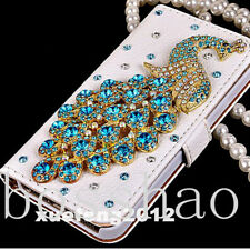 New Diamonds Crystal Peacock Leather Flip slots Wallet Phone Cover skin Case Y5