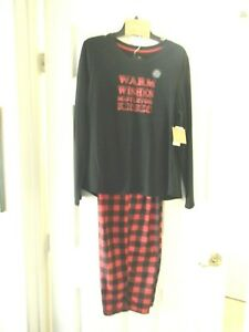 Karen Neuburger Women's Large Christmas Holiday Warm Wishes PJ Set Black/Red NWT