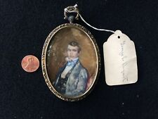 Antique Oval Painting On Bone & Silver Picture Frame / Gold Wash