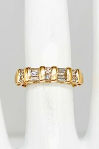 Estate $2400 Signed 1ct Baguette Round Diamond 14k Yellow Gold Wedding Band Ring