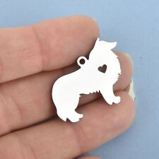 2 Stainless Steel Collie Dog charms, stamping blanks Chs4836
