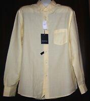 Ermonegildo Zegna Men's Yellow White Plaid Linen Blend Shirt Size L $375