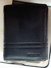 Men's Fossil Watts Trifold Leather Wallet Color Black