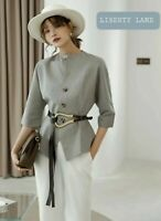 Dove Marl Grey Buttons Up Stylish Designer Summer  Casual Chic Shirt Blouse 10