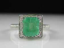 Emerald and Diamond Halo Ring 18K White Gold Fine Jewelry Square Princess $3700