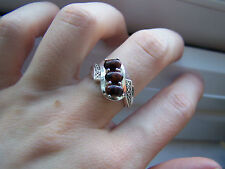 STUNNING STERLING SILVER AGATE TRILOGY RING HALLMARKED SIZE O GEMSTV FREE P&P