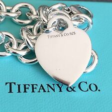 Tiffany & Co Silver Blank Heart Tag Bracelet with Box