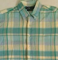 Ralph Lauren Mens Blue Pastel Multicolor Plaid Madras Cotton S/S Size Large L