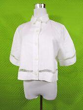 NARA CAMICIE femme vintage en lin blanc made in Italy Shirt Sz L UK 14 10 US BC49