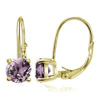 Yellow Gold Flashed Silver Simulated Alexandrite 6mm Round Leverback Earrings