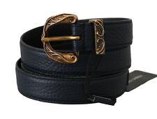 DOLCE & GABBANA Belt Blue Deerskin Snakeskin Baroque Buckle 95cm/38in RRP $850