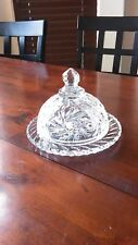 Fine Crystal, Small Cheese/Butter Dish, - Beautiful Deep Pattern, Heavy
