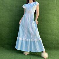Vtg Pastel Blue 1970s  Boho Prairie Long Dress sz Small