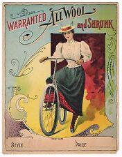 FABRIC CLOTH BOLT LABEL VINTAGE BICYCLE FASHION C1910 GIRL MESSENGER ORIGINAL