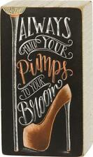 """NEW Primitives By Kathy 7"""" Pumps With Your Broom Halloween Chalk Box Sign 29966"""