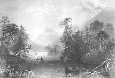 LAKE GEORGE NARROWS, New York ~ Old Antique 1838 Landscape Art Print Engraving