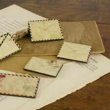 "Prima 556600 ""Envelope Wood Embellishments "" 5 Pieces New"