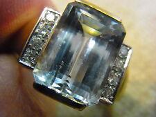 Anillo 585 / ORO GOLD mit1x Aguamarina 8xbrillant talla ancho de anillo 61
