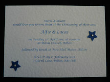 20 x Handmade Personalised Christening Invitations - white cards with envelopes