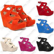 Womens Ladies Platform High Heel Suede Ankle Strap Wedge Shoes Peep Toe Sandals