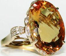 █$6000 22.72CT NATURAL CITRINE DIAMOND RING █16X23MM