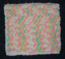 Pink & Aqua Chenille Baby Afghan / Blanket with White Fluffy Edging - So Soft!