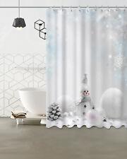 US STOCK Winter Snow Snowman Xmas Snowflake Shower Curtain Set Waterproof Fabric